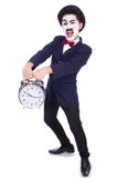 Funny man with clock Royalty Free Stock Image