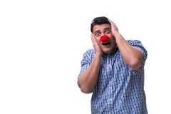 The funny man clown isolated on white background. Funny man clown isolated on white background royalty free stock photo