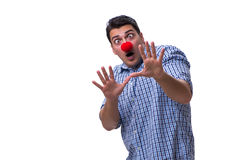 The funny man clown isolated on white background. Funny man clown isolated on white background royalty free stock images