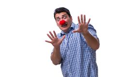 The funny man clown isolated on white background. Funny man clown isolated on white background royalty free stock photography