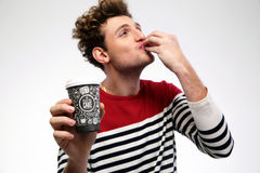 Funny man with coffee Stock Photo