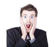Funny man with crazy surprised look Royalty Free Stock Photography