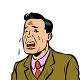 Funny man crying. Comic cartoon pop art illustration retro vintage kitsch vector Royalty Free Stock Image