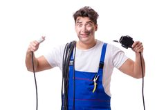 The funny man doing electrical repair Stock Images