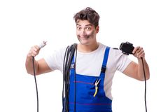 The funny man doing electrical repair Royalty Free Stock Photography
