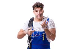 The funny man doing electrical repair. Funny man doing electrical repair Royalty Free Stock Photos