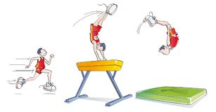Funny man doing gymnastics. Sequences of a man doing artistic gymnastics on the pommel horse Stock Photos