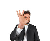 Funny man while doing ok with the hand Royalty Free Stock Images