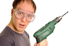 Funny man with drill Royalty Free Stock Photos