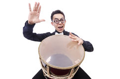 Funny man with drum Stock Images
