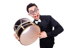 Funny man with drum Royalty Free Stock Image