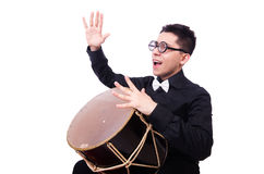 Funny man with drum Royalty Free Stock Images