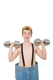 Funny man with dumbbells Stock Photography