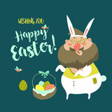 Funny Man in Easter Bunny Costume Stock Photo