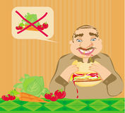 Funny man eating hamburger Royalty Free Stock Photo