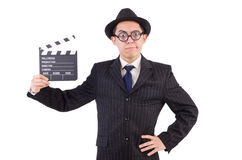 Funny man in elegant suit with movie clapboard. Isolated on white Stock Photos