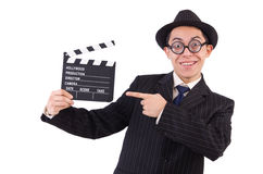 Funny man in elegant suit with movie clapboard isolated Royalty Free Stock Images
