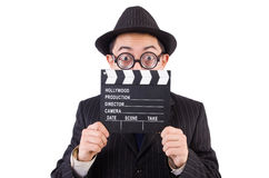 Funny man in elegant suit with movie clapboard isolated Stock Photo