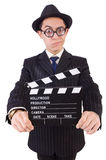 Funny man in elegant suit with movie clapboard isolated Stock Images