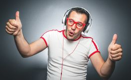 Guy enjoying in music Stock Photos