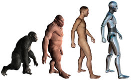 Funny Man Evolution Illustration Isolated Stock Image