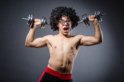 Funny man exercising Royalty Free Stock Image