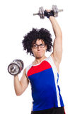Funny man exercising Royalty Free Stock Photography