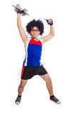 Funny man exercising Stock Images