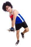 Funny man exercising Royalty Free Stock Image