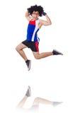 Funny man exercising isolated Stock Image
