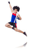 Funny man exercising isolated Stock Images