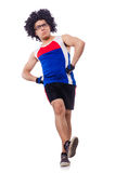 Funny man exercising isolated Royalty Free Stock Photography