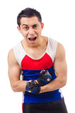 Funny man exercising Royalty Free Stock Images