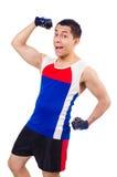 Funny man exercising Stock Photo