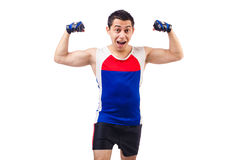 Funny man exercising Stock Image
