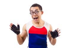 Funny man exercising Stock Image