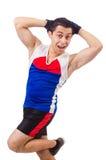 Funny man exercising Royalty Free Stock Photo
