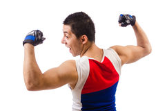 Funny man exercising Stock Photography
