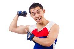 Funny man exercising Stock Photos