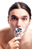 Funny man face shaving Royalty Free Stock Photography