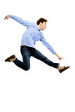Funny man flying Stock Images