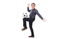 Funny man with football Royalty Free Stock Photography