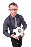 Funny man with football Stock Photo