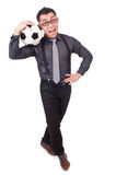 Funny man with football Stock Photography