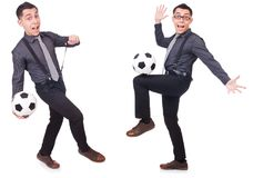 The funny man with football isolated on white Royalty Free Stock Photography