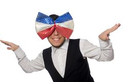 Funny man with giant bow tie. The funny man with giant bow tie royalty free stock image