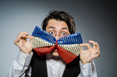 The funny man with giant bow tie Royalty Free Stock Photos