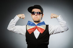 The funny man with giant bow tie Royalty Free Stock Images