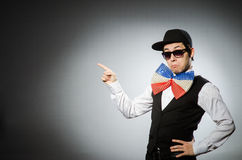 The funny man with giant bow tie Royalty Free Stock Photography