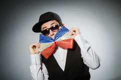 The funny man with giant bow tie Stock Image